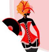 Red lady in corset with fan Stock Illustration