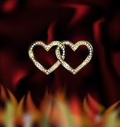 two jewel hearts and fire - stock illustration