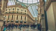 Galleria Vittorio Emanuele II in Milan, Italy. Stock Footage