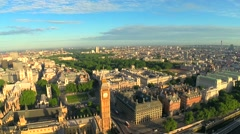 Stock Video Footage of Aerial panorama of central London Big Ben