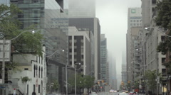 Buildings disappearing in the fog Stock Footage