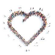 people in the shape of a heart - stock illustration