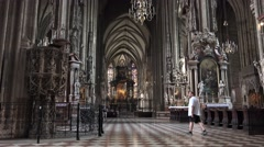 ULTRA HD 4K Famous St Stephens Cathedral indoor art decoration Vienna iconic day Stock Footage