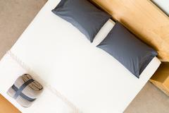 Stock Photo of Overhead view of a neat king size bed