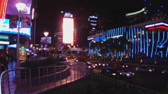 Traffic On Las Vegas Boulevard At Night- Las Vegas NV - stock footage