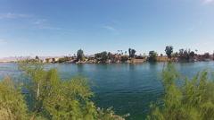 Bullhead City Arizona Riverfront Homes Seen Across Colorado River Stock Footage