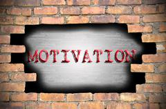 Hole at the brick wall with motivation caption inside Stock Illustration