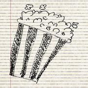 sketch drawing of a bucket of popcorn - stock illustration