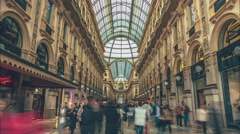 Stock Video Footage of Galleria Vittorio Emanuele II in Milan, Italy.