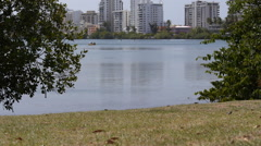 VIEW OF CONDADO LAGOON PARK and paddle boards - stock footage