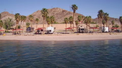 Campgrounds And Campers On Bank Of Colorado River- Laughlin NV - stock footage
