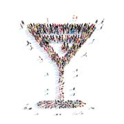 People in the shape of a wedding martini glass Stock Illustration