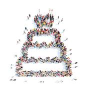 people in the shape of a wedding cake - stock illustration
