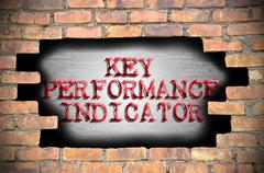 Hole at the brick wall with key performance indicator caption inside Stock Illustration
