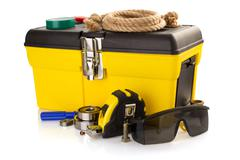 tools and instruments with toolbox on white - stock photo