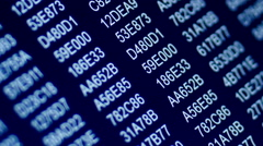 Hexadecimal code on computer zoom in Stock Footage