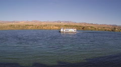 Tour Boat On Colorado River- Laughlin Nevada Stock Footage
