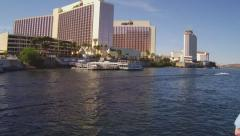 Tour Boat View Of High Rise Casino Hotels- Laughlin NV Stock Footage