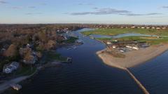 Aerial coastal town, 4K Stock Footage
