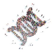 Stock Illustration of people in the shape of DNA mark