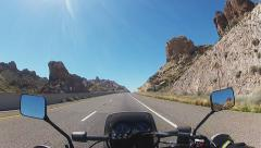 Viewpoint Motorcycle Rider On Arizona Hwy 68- Black Mountains Stock Footage