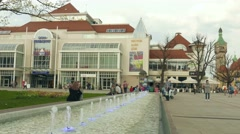 Sopot, Poland. Fountain in the city center and building of national art galery Stock Footage