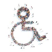 People in the shape of wheelchair users Stock Illustration