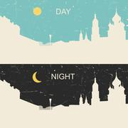 View of the heritage Russian city day and night - stock illustration