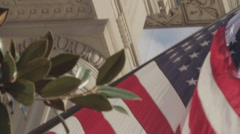 Close up American Flag, Gov Building, D.C. 2 - stock footage