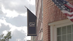 GW University Flag and American Flag Stock Footage