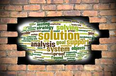 Hole at the brick wall with solution word cloud inside - stock illustration