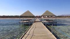 Wooden pontoon in Egypt resort Stock Footage