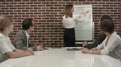 Businesswoman giving presentation on flipchart. Business meeting in the office Stock Footage