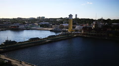 Wide shot of sea port Stock Footage