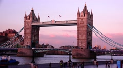 Amazing view of Tower Bridge at sunset, - stock footage