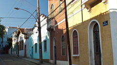 View of tramway tracks in alleys of Santa Teresa Stock Footage