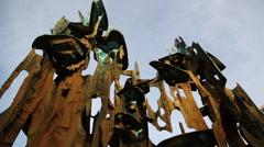 Tilt down sculpture in Princeton Stock Footage