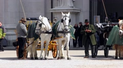 4K footage of traditional horse-drawn carriages in Salzburg, Austria Stock Footage