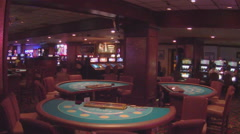 Empty Card Gaming Tables Inside Casino Stock Footage