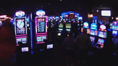 Interior Casino Wide View Electronic Slot Machines Stock Footage
