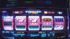 Close Up Slot Machine Win- Fast Motion Stock Footage