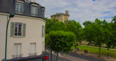 Time lapse top of french castle 'Chateau de Vincennes' - stock footage