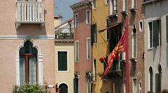 Venetian flag in Venice Italy Stock Footage