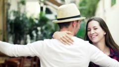 Young, happy couple dancing in city HD Stock Footage