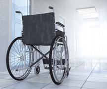 Empty wheelchair parked in hospital hallway  hope concept background Stock Illustration