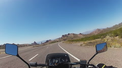 Viewpoint Motorcycle Rider Descending From Black Mountains On Arizona Hwy 68. Stock Footage