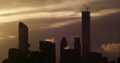 Timelapse of steam coming from buildings in the midtown Manhattan skyline Stock Footage