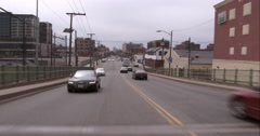Crossing the Willow Avenue Bridge into Weehawken from Hoboken Stock Footage