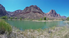 Pond & Mountains- Spring Mountain Ranch State Park Stock Footage