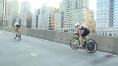 Cycling on West Side Drive, triathlon cycling Stock Footage